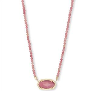 Kendra Scott Pink Gold Beaded Rose Necklace
